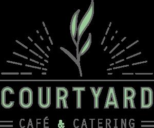 Courtyard Cafe dark text green leaf