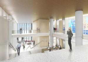 Architectural rendering and 3rd floor view of lobby inside new courthouse.