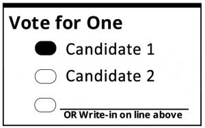 Marking Correctly on a ballot. A oval filled in.