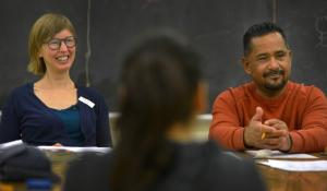 Molly Franks, Multnomah County health educator (left) and Miguel Canales, Multnomah County community health specialist