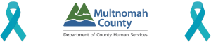 Multco DCHS Logo with Teal Ribbons