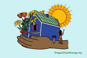 Drawing of a house with solar panels being installed on the roof, the house is held in a persons hands, children cheering in the foreground, and flowers blooming from a window in the house.