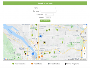 Oregon Food Bank Food Finder Interactive Map