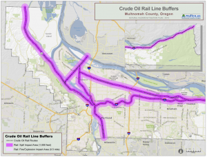 Map of areas in Multnomah County potentially impacted oil-by-rail incident.