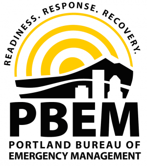 """Logo for the Portland Bureau of Emergency Management, that has an image of the City skyline and reads """"readiness, response, recovery.""""."""