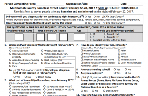 Some of the survey questions neighbors in shelters or on the streets will be asked as part of the Point in Time count.
