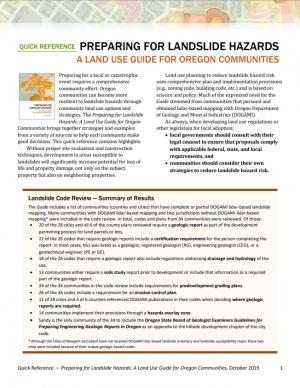 Image of Preparing for Landslide Hazards Quick Reference sheet