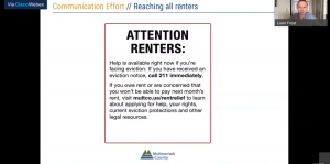 """A slideshow presentation with a slide titled """"Attention Renters"""" in the center of the image."""