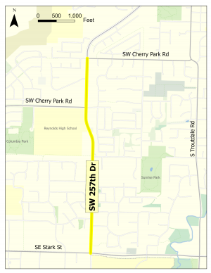 A map highlighting a stretch of SW 257th Drive, between SE Stark Street and SW Cherry Park Road.