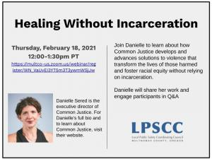 Healing Without Incarceration Information