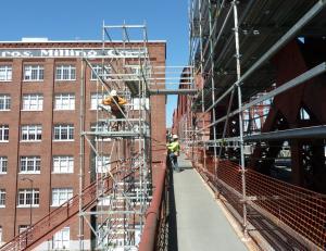 Scaffolding has narrowed the two bridge sidewalks.