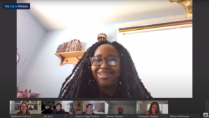 Screenshot of Belise Nishimwe speaking to Board of County Commissioners in a virtual meeting