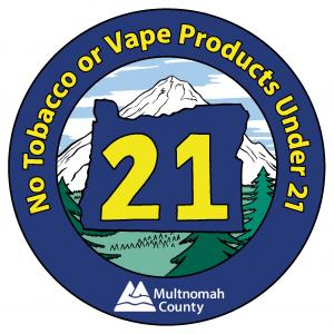 New decal for tobacco vendors, notifying the public that the legal age to purchase is now 21.