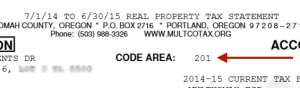 The tax levy area is located next to the words Code Area at the top of the page
