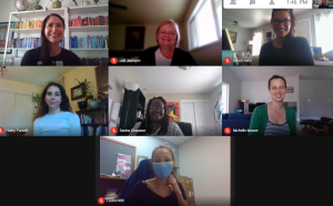Team photo of Victim and Survivor Services Unit; Google hangout grid showing faces of seven members of the team