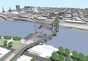 Rendering of a new bridge under construction with a smaller temporary bridge alongside it.