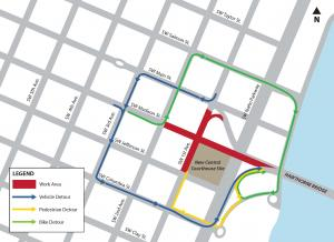 Traffic plan map for courthouse crane erection June 23-25