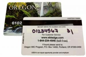front and back view of WIC benefits card showing ID number