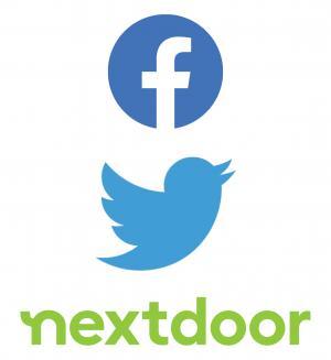 Logos for Facebook Twitter and Nextdoor