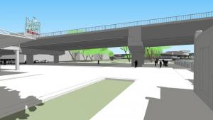 Rendering of a bridge span passing over Waterfront Park with two pairs of pillars supporting it in the park.