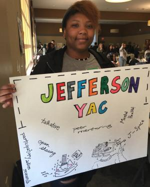 student holding Youth Action Council at Jefferson High School
