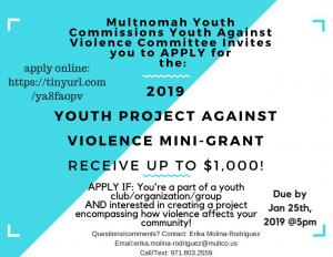 YAV is offering up to $1,000 to youth organization for an anti-violence project