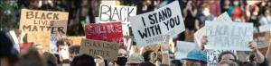 October newsletter header - Demonstration signs