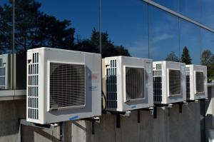 Row of air conditioning units