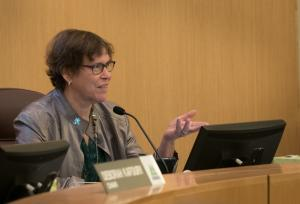 Multnomah County Commissioner Judy Shiprack commended project team for design efforts made inside the courthouse