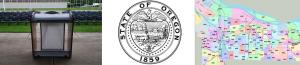 banner of state seal and district map