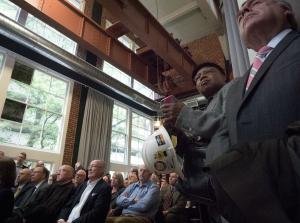 Audience listens to speakers at groundbreaking ceremony for new courthouse