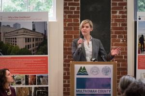House Majority Leader Jennifer Williamson addresses groundbreaking crowd