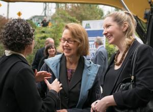 Attorney General Ellen Rosenblum chats with guests at groundbreaking.