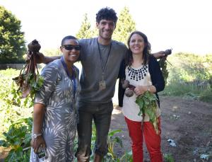 From left: Restorative justice manager Sidney Morgan; crew leader Sidney Walters and Chair Kafoury pose with produce plucked fresh from the Hands of Wonder garden