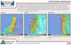 Comparison of earthquake zones in Japan, Chile and the Pacific Northwest