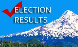 Image of  Mt Hood and text that says Election Results