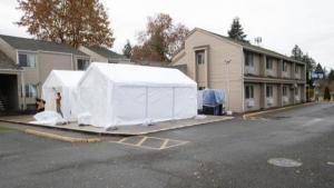 Physical distancing shelter exterior - Portland Value Inn - Barbur in Southwest Portland
