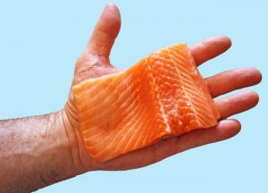 hand holding a piece of raw fish