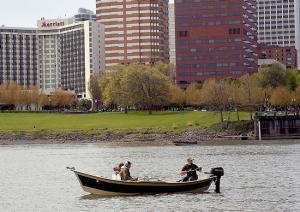 people in a boat fishing in Portland, Oregon