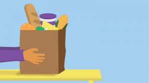 Illustration of hands holding groceries