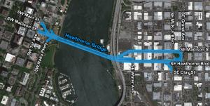 Map graphic highlighting the area within 10' of the county-maintained areas around the Hawthorne Bridge.