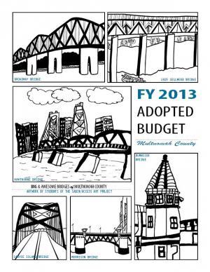 FY 2013 Budget Cover - sketches of Portland bridges