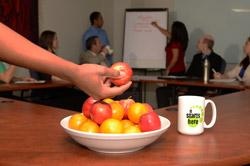 bowl of fruit in a conference room