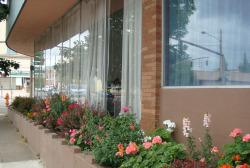 Exterior of a brick building with windows and flowers planted in front of the windows