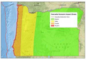 Cascadia Scenario Impact Zones map