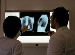 Medical professionals review x-rays