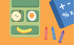 illustration of school meal and books