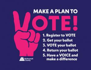Make a Plan to Vote! Register to Vote; Get your ballot; VOTE your ballot; Return your ballot; Have a voice and make a difference.