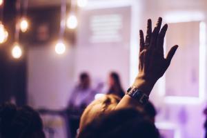 hand raised photo