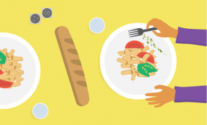Illustration of a person eating a meal